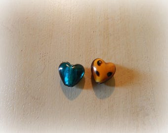2 glass beads heart blue-green and Brown mottled orange