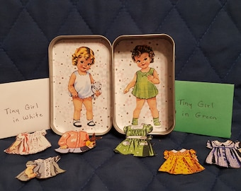 Altoids tin paper dolls with magnetic clothes