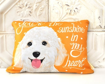 Goldendoodle Art Pillow- You're The Sunshine In My Heart
