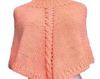 Peach capelet, peach poncho, hand knitted poncho, cabled poncho, adult poncho