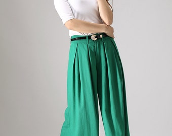Wide Leg pants, linen clothes, long trousers, green pants, palazzo pants, Custom pants, long pants  (840)