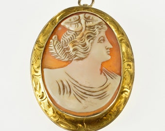 10K Ornate Victorian Carved Shell Cameo Pendant/Pin Yellow Gold