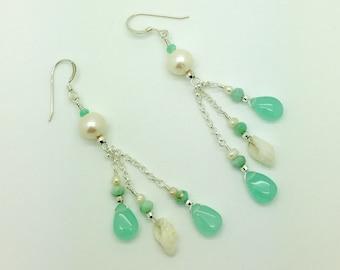 Hawaiian Sea Shell,Chalcedony, Amazonite, & Freshwater Pearl Sterling Silver Earrings #AVEN1801