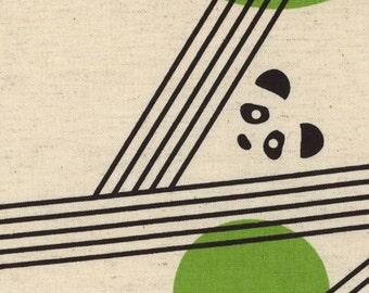 1/2 yard Kokka Parallels by Ellen Baker Cotton Linen Blend   Pandas   42800-800-B Grass Green