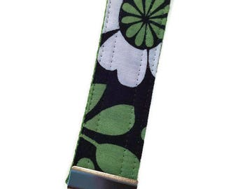 White Green and Blue Floral Key Fob