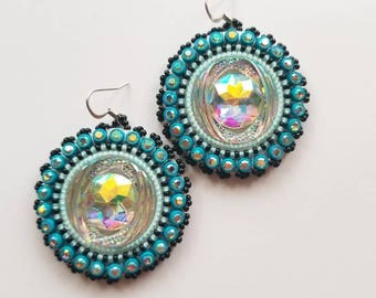 Black & Turquoise Beaded Earrings