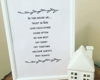 House Rules A4 Print