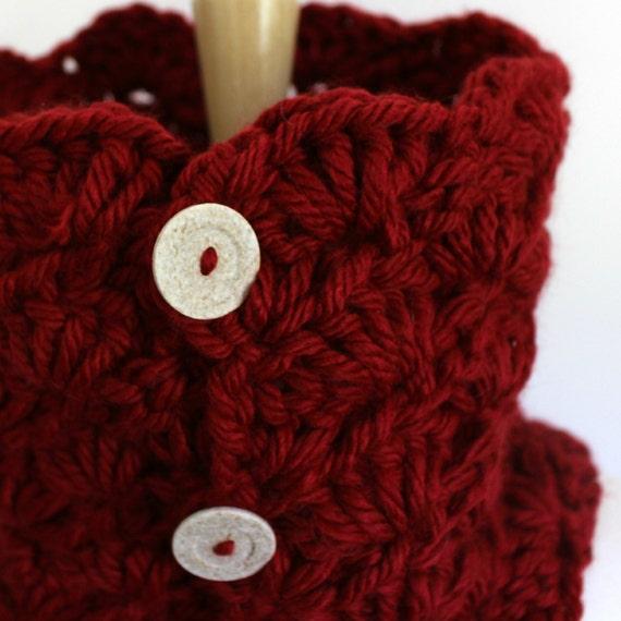 Rote Gugel mit Knöpfen Preiselbeere rote Schal rot häkeln