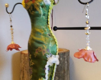 "Classic Crystal and Rose flower earrings "" Rosetta"""