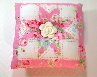 Pincushion, Large Square Wonky Star Shabby Rose Pincushion, Ready to Ship