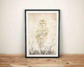 Labyrinth: Cult Fantasy Movie Poster // Goblin King Quote, Snowy Owl, and Bramble Silhouette Print