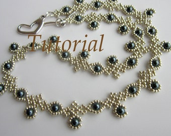 PDF beaded necklace with SWAROVSKY pearl seed bead - Necklace Blueberry- pattern- tutorial
