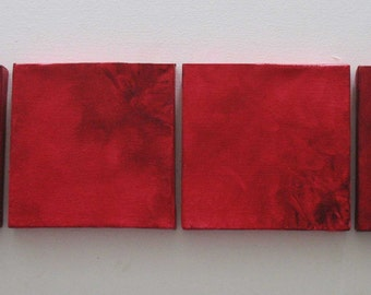 Red Wall Art - Red Wall Decor - Modern Art - Modern Abstract - Minimalist Art - Mini Canvas Art Square-Red - set of 15
