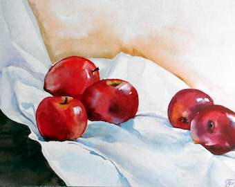 Fruit painting, Original Watercolor Apple painting, Fruit Wall Art, Still Life, 11x16, Red apples painting, Kitchen Art.
