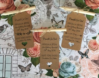 Pencil Us In! Wedding Invite, Rustic Save The Date, Save The Date with Mini Wooden Pencil, Save The Date, Save The Date Tag, Wedding