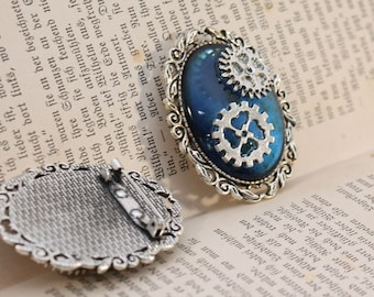 Steampunk gear Brooch-Blue