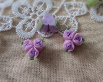 4pcs unique fimo rose flower,Purple