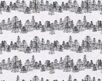 fabric, forest, mountain, trees, black, white