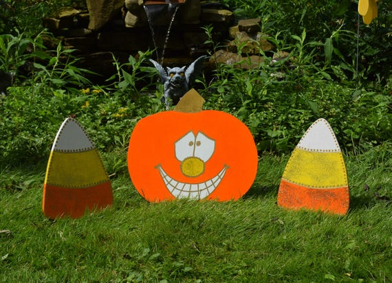 Glitter Jack O Lantern Pumpkin And Candy Corn 3 Piece Yard