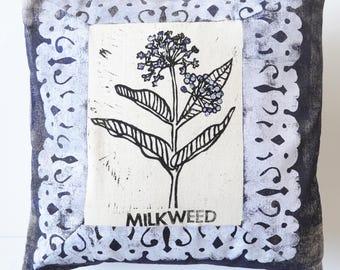 Milkweed Hand Printed Decorative Pillow COVER OOAK Bees