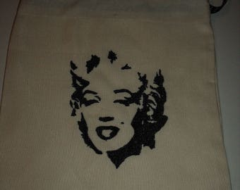 The face of Marilyn Monroe embroidered pouch