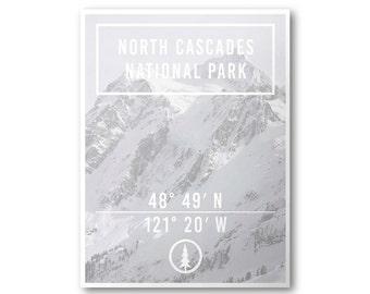 North Cascades National Park Poster & Postcard | Explore Poster Series | Coordinates Poster