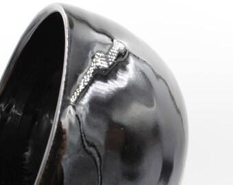 Ceramic Bowl - shiny black