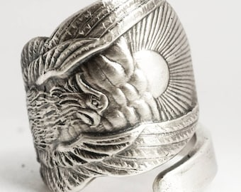 Wide Phoenix Rising Ring, Sterling Silver Spoon Ring, Handmade Jewelry, Phoenix Wings, Pheonix, Gift for Him or Her, Adjustable Ring (6918)