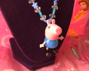 George Pig Necklace - Peppas Brother Pig - George Pig Charm Necklace - George Pig - Peppas Accessories - Kids Jewelry - Kids Necklace