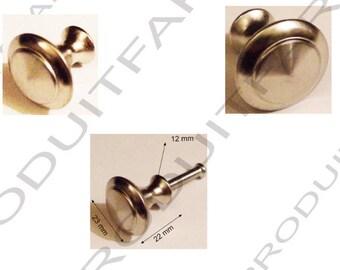 Set of 10 button Zinc Nickel kitchen cabinet door bathroom drawer handles. 23 x 22 mm