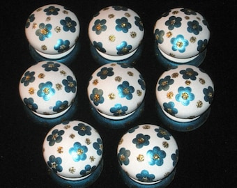 Ready to Ship ~ Set of 8 ~ WHITE Knobs with METALLiC TURQUOISE Flowers and Gold Glitter - Wooden BRITISH Dresser Knobs