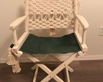 LOCAL PICKUP ONLY- Macrame Director's  Chair