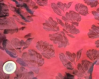 Silk sateen fabric, purple woven print