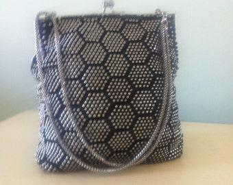 Hexagon pattern black & silver double chain evening bag