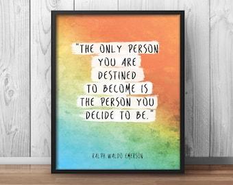 Inspirational Print Quote Ralph Waldo Emerson Poster Watercolor Print Motivational Poster - 021
