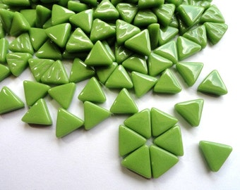 MINI Lime Green Triangle Shaped Mosaic Tiles 10mm//Recycled Glass Tiles//Mosaic Supplies//Jewelry Supplies//Mosaics