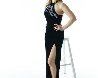 Black Velvet Dress / Sleeveless Retro Dress / Open Back Vintage Dress