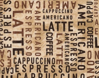 """Coffee Words Fabric; You Choose Size; C5729; Timeless Treasures; 42/44"""" wide; Cafe Au Lait; Coffee Fabric; Latte, Espresso, Cappuccino"""