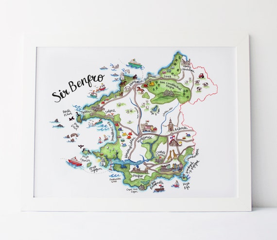 Pembrokeshire Sir Benfro Map Print Hand Painted Illustrated - Welsh language map