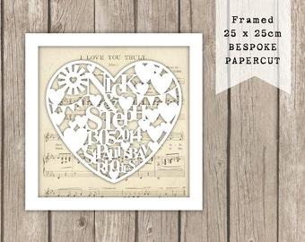 Wedding Papercut | Wedding Art | Wedding Gift | Personalised Gift | First Dance | Mr & Mrs | Wedding Keepsake | Wedding Day | Wedding Heart