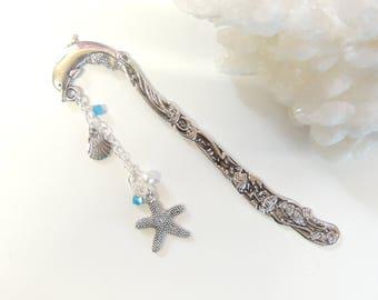 Starfish Sea Shell Dolphin Bookmark, Dolphin Bookmark, Starfish Bookmark, Metal Bookmark, Book Gift