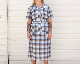 Vintage 60s Blue Plaid House Dress | 60s Tie Waist Dress