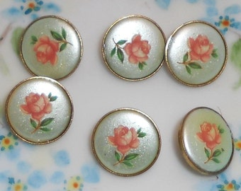 Vintage Glass buttons Japan Japanese Button Flowers Limoges One of kind Rare Floral Perennial #926