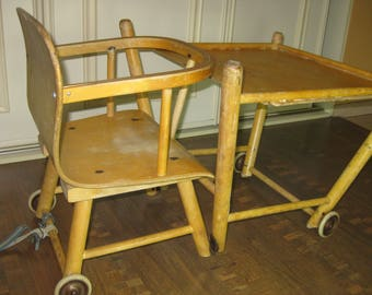 Vintage 1950s Swedish Plywooden  Convertible  High Chair Desk with ROLLING WHEELS COMBO