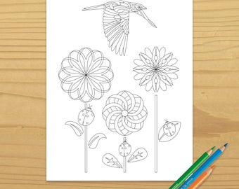 Bird Coloring Page, Ladybug Coloring Page, Ladybird Coloring Page, Flower Coloring Page, Garden Coloring Page, Digital Download