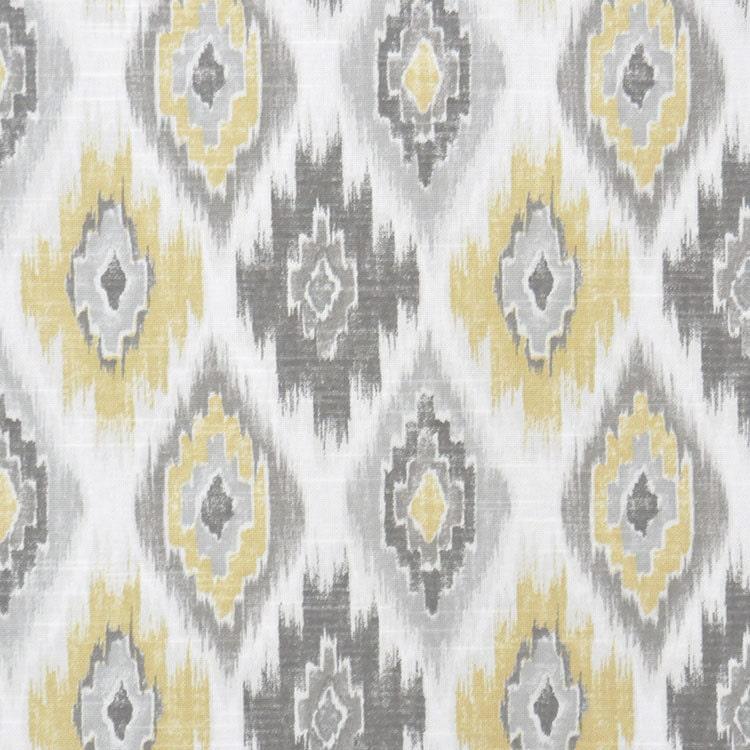 Grey Yellow Ikat Upholstery Fabric   Yellow Ikat Cotton Curtain Material    Grey White Ikat Home Decor Throw Pillow   Ikat Roman Shade Fabric