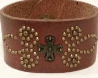 Cuff made from vintage belt, SALE