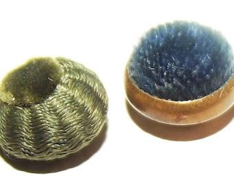 Antique Buttons ~ 2 Darling Unusual Fabric Velvet Buttons ~ Victorian Velvet Fabric Buttons