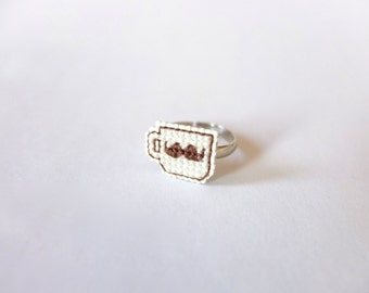 Brown Moustache Teacup cross stitch ring, gifts for geeks, teacup ring, gifts under 25, mustache ring