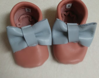 Salmon and sky blue baby moccasins